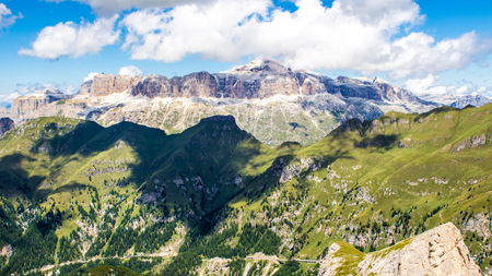 sella: panoramic view of the Sella group, a massif in the Dolomites mountains of northern Italy