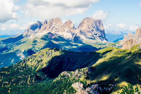 massif: panoramic view of the Langkofel group, a massif in the Dolomites mountains of northern Italy Stock Photo