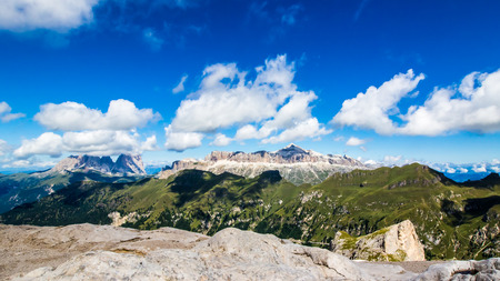 sella: panoramic view of the groups of Sella and Langkofel, massifs in the Dolomites, South Tyrol , Italy