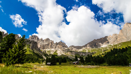 rosengarten: The view of the Rosengarten group, a massif in the Dolomites of northern Italy Stock Photo