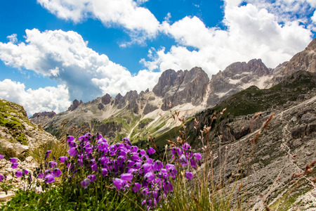 rosengarten: View of The Rosengarten group, a massif in the Dolomites of northern Italy Stock Photo