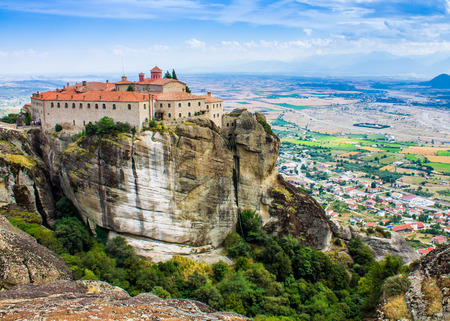 monastic site: Panoramic view of a monastery at Meteora, Greece