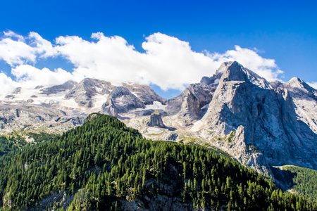massif: Panoramic view of the massif of the Marmolada in the Dolomites, Italy