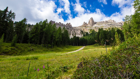 rosengarten: Panoramic view of the Rosengarten group in the Dolomites, Italy