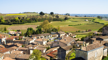 patrimony: Panoramic view of Saint Emilion and the vineyard, near Bordeaux, France