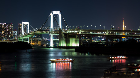 nightscape: nightscape of Tokyo city, view on the bay and the Rainbow bridge, Japan
