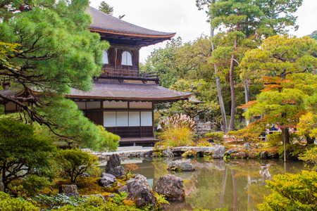 silver maple: Ginkaku-ji, a Zen temple called Silver Pavilion in Kyoto, Japan. Stock Photo