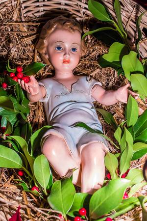 statuette of the crib representing the birth of baby jesus Stock Photo