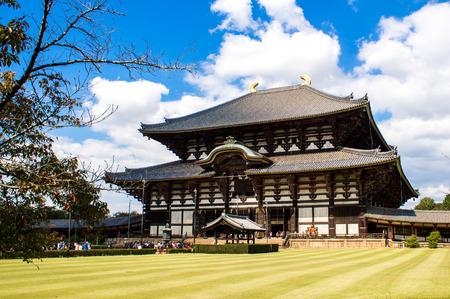 todaiji: NARA, JAPAN - OCTOBER 13, 2015: Great Buddha Hall at the Todaiji Temple in Nara, near Kyoto, Japan Editorial