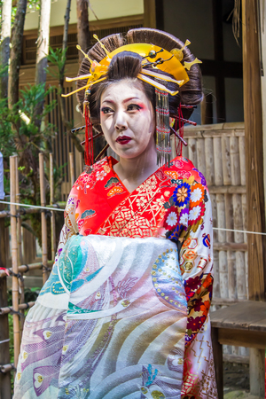 maiko: KYOTO, JAPAN - OCTOBER 12, 2015 : portrait of a Maiko, Apprentice geisha, in Kyoto, Japan.