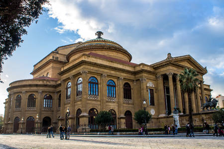 massimo: PALERMO, iTALY -  FEBRUARY 07, 2015 - Teatro Massimo Vittorio Emanuele, the biggest opera house in Italy Editorial