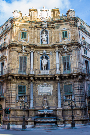 octagonal: Quattro Canti, The east side of the octagonal Baroque square in Palermo, officially known as Piazza Vigliena, in Sicily, Italy