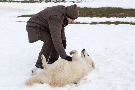 amigos abrazandose: hombre jugando con un perro pastor de Maremma en la nieve