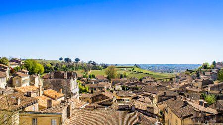patrimony: panoramic view of  Saint-Emilion and the vineyard, near Bordeaux in France