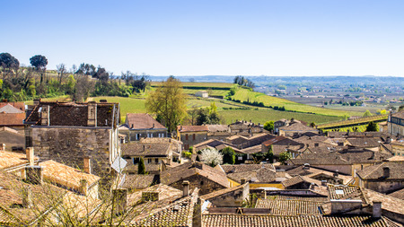 saint emilion: panoramic view of  Saint-Emilion and the vineyard, near Bordeaux in France