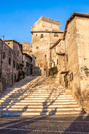 glimpse: glimpse of the staircase in the center of Sermoneta, a medieval village in the province of Latina, Lazio, Italy