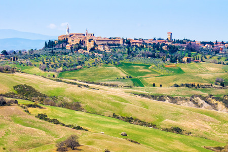 val dorcia: tuscan landscape, view of Pienza town in the Val DOrcia
