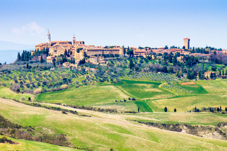 pienza: Cityscape of Pienza, medieval town in Tuscany, Italy