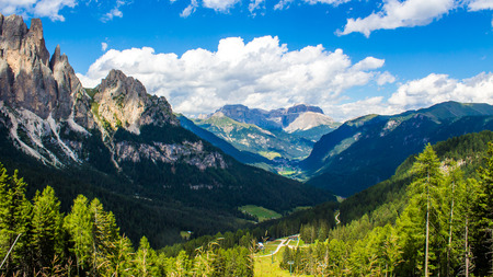 fassa: View of the Fassa Valley in the Dolomites in Trentino, northern Italy Stock Photo
