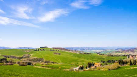 coutryside: Panoramic view of the Tuscan coutryside in Italy Stock Photo