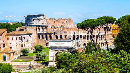 to and fro: view of the Colosseum fro, the Roman Forum, in Rome, Italy Editorial