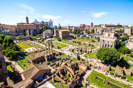 Panoramic view over the ruins of the Roman Forum with the Vittoriano in the background in Rome, Italy
