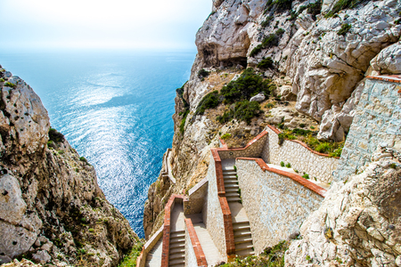 The stairway leading to the Neptunes Grotto, in Capo Caccia cliffs, near Alghero, in Sardinia, Italy Zdjęcie Seryjne