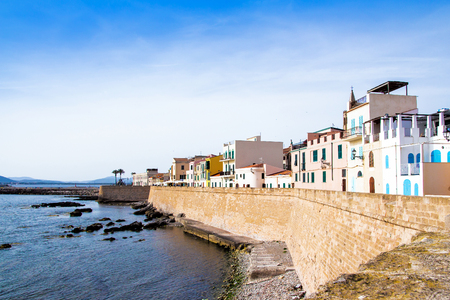 View of the promenade in the downtown of Alghero, Sardinia