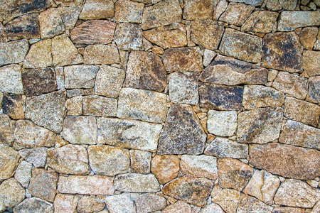 housebuilding: background of a wall made with irregular stones