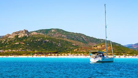 The beautiful beach of Porto Taverna, near Porto San Paolo,  on the east coast of Sardinia, Italy