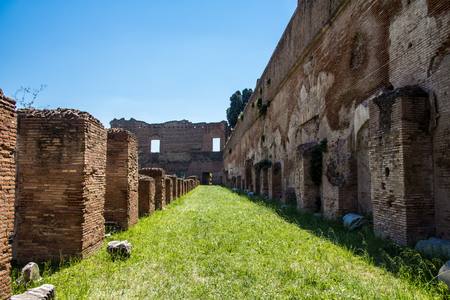 palatine: the ruins of the Stadium, in the Domitian Imperial palace, on the Palatine Hill in Rome, Italy