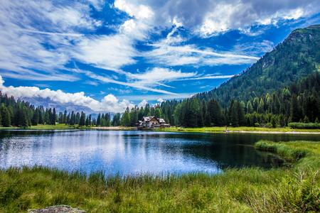 madonna: The lake Nambino in the Alps near Madonna di Campiglio, Trentino, Italy Stock Photo