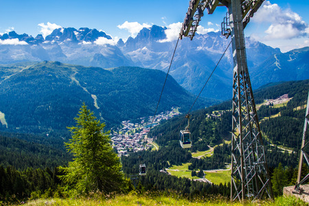 Cableway over the mountain of Madonna di Campiglio, a town in the Alps of Trentino , Italy Editorial