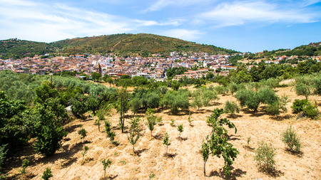 view of Orani, a small Sardinian town, located in the barbagia natural region, Italy