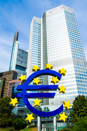 FRANKFURT AM MAIN, Germany - September 03, 2016:  Euro Sign in front of the European Central Bank in Frankfurt, Germany Editorial