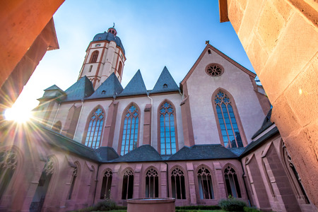 chagall: The Church of St. Stephan in Mainz, Germany, view from the cloister.