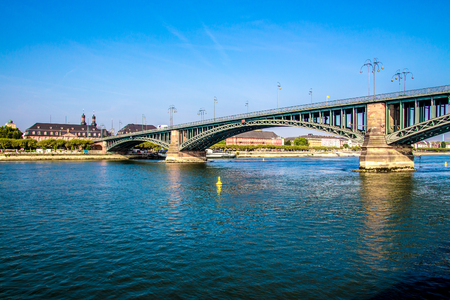 view of a Bridge on the Rhine river, in Mainz, Germany,