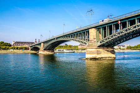 MAINZ: view of a Bridge on the Rhine river, in Mainz, Germany,