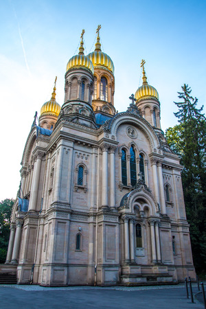 russian orthodox: Russian Orthodox Church of Saint Elizabeth at the Neroberg, a hill in Wiesbaden, Germany Stock Photo