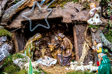 statuettes: The christmas nativity scene represented with statuettes