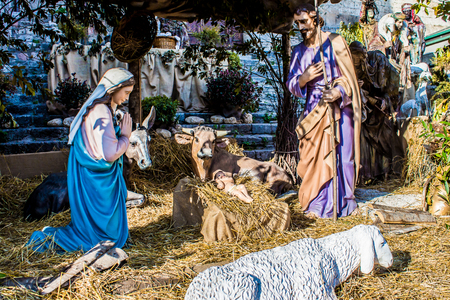 creche: Represented with the christmas nativity scene statuettes Stock Photo