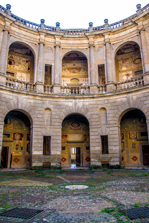 CAPRAROLA, Italy - November 1, 2016 - the circular courtyard inside of Villa Farnese in Caprarola, Italy Editorial
