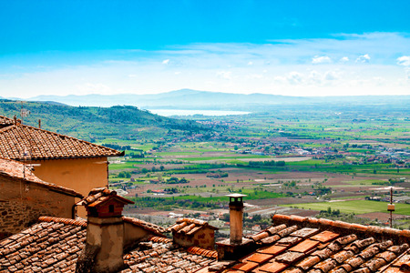 alluvial: View of the Val di Chiana, from the roofs of Cortona , in Tuscany, Italy