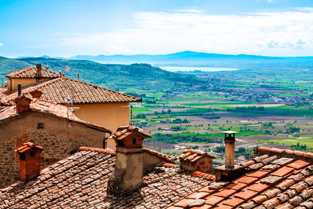 alluvial: View of the Val di Chiana, from the roofs of Cortona, in Tuscany, Italy