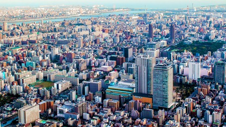 turism: aerial cityscape of Tokyo, the capital of Japan