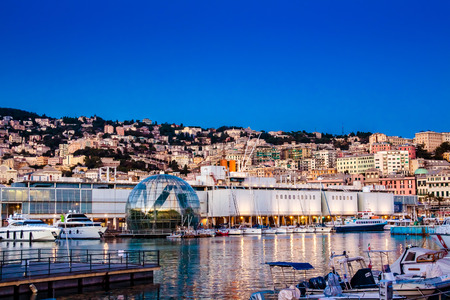 View of the port of genoa at dusk, Italy Stock Photo