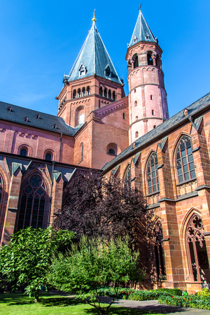 the cloister and the bell tower of the St. Martins Cathedral in Mainz, Germany