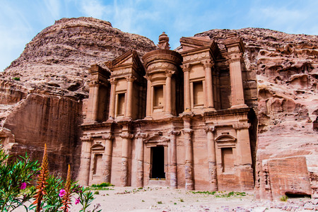 Ad Deir The Monastery, a monumental building carved out of rock in the ancient Jordanian city of Petra.