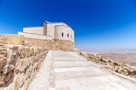 Nebo 산, 요르단에있는 모세의 기념 교회 스톡 콘텐츠