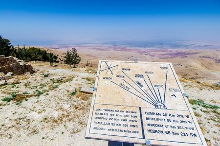 「約束の地」と様々 な場所距離を示すプラークヨルダンのネボ。 写真素材